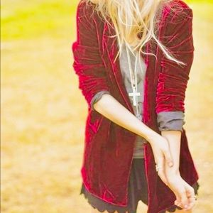 Jackets & Blazers - Vintage boho red velvet blazer jacket